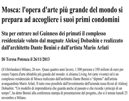 cover_ Mosca_ l'opera d'arte più grande del mondo si prepara ad accogliere i suoi primi condomini _ Il Ghirlandaio 2013-1