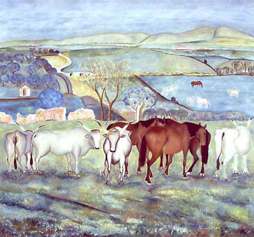 Giuseppe Cesetti, Buoi e Cavalli al Pascolo, 1932 ca., oil on canvas, cm 120x130