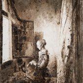 Appropriazione Donna che legge una lettera davanti alla finestra